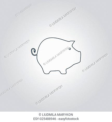 Piggy bank. Flat web icon, sign or button isolated on grey background. Collection modern trend concept design style vector illustration symbol