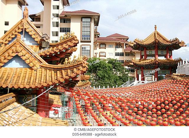 Thean Hou Temple (of 1989) with chinese lanterns, Kuala Lumpur, Selangor, Malaysia, Asia