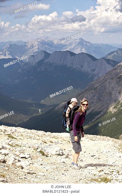 Caucasian mother and baby hiking, Jasper, Alberta, Canada