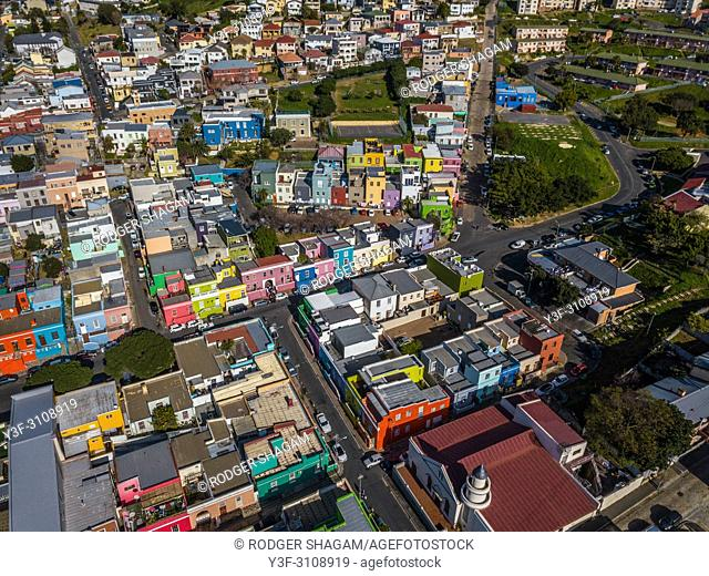 Aerial shot of the Bo-Kaap historical precinct in the city of Cape Town, South Africa