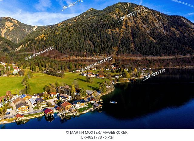 Drone shot, Walchensee, Upper Bavaria, Bavaria, Germany