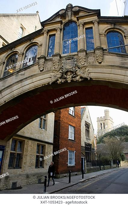 The bridge linking two parts of Hertford College Oxford known as the Bridge of Sighs  Also the entrance to the turf tavern