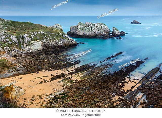 beach and cliff. Somocueva. Costa Quebrada. Cantabria, Spain