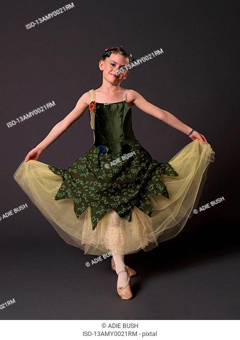 Ballerina in green dress
