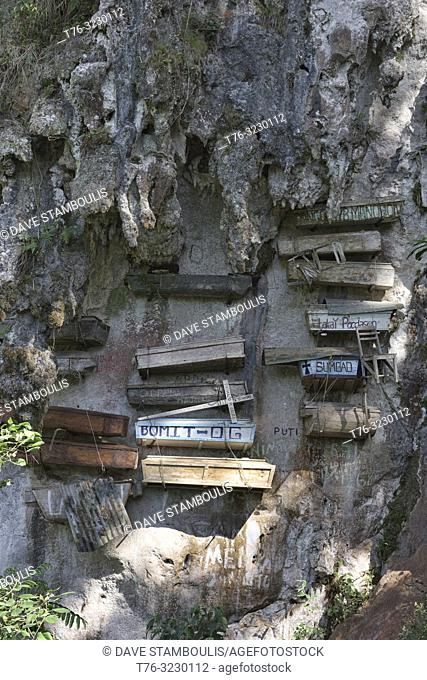 Igorot hanging coffins in Echo Valley, Sagada, Mountain Province, Philippines