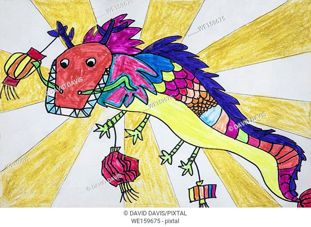 Childs drawing of a dragon used during Dragon Festival in China