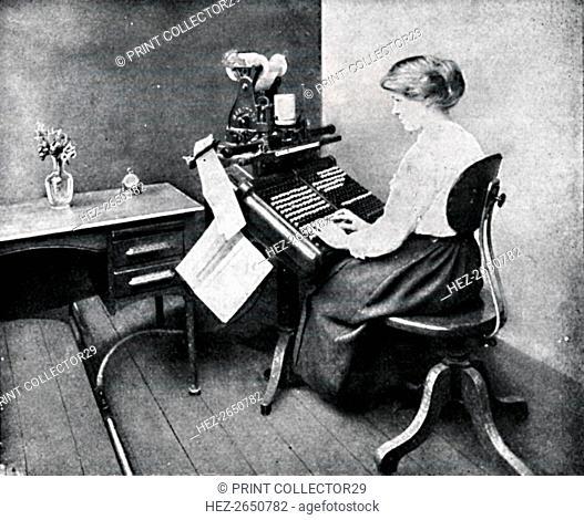 'Woman Operator on Monotype Keyboard', 1917. Artist: Unknown