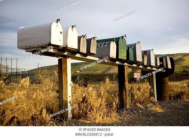 Row of mailboxes, Palouse, Washington