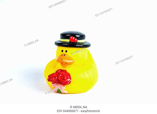 bath duck on white background,duck toy,Cute yellow rubber duck