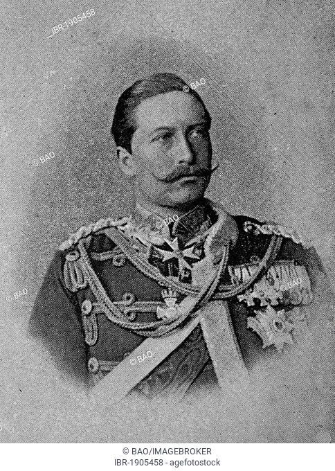 Wilhelm II, 1859 - 1941, German Emperor, King of Prussia, woodcut from 1880