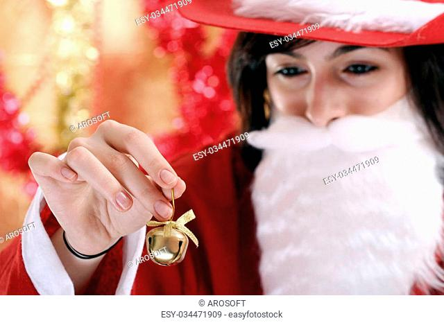 Beautiful woman dressed in santa clause costume