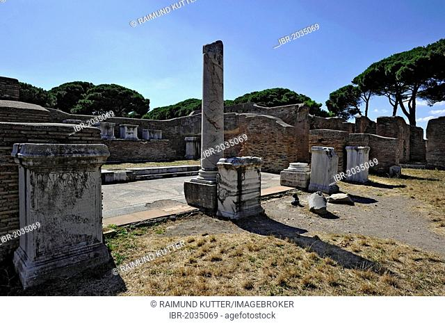 Ruins of the police barracks of Caserma dei Vigili, Ostia Antica archaeological site, ancient port city of Rome, Lazio, Italy, Europe