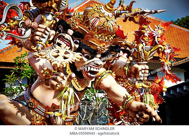 Ogoh Ogohs, wooden carvings, colorful, holiday, New Year celebration, traditional ceremony, Nyepi, Bali, Indonesia, Asia