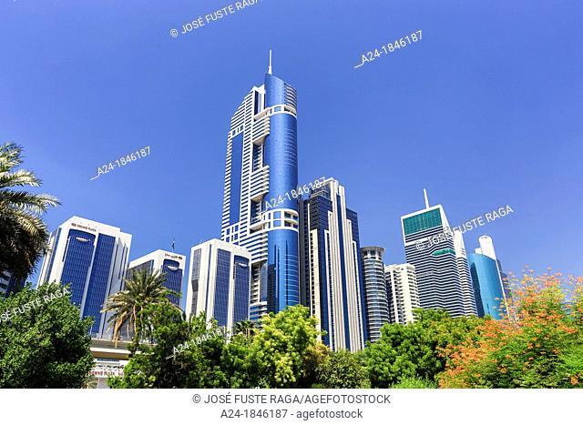 United Arab Emirates UAE , Dubai City ,buildings along Sheikh Zayed Road