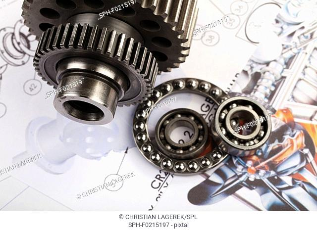 Gears and cogs on a blueprint