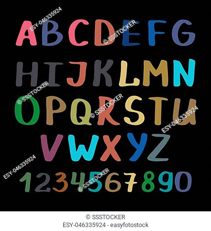 Vector handwright calligraphy alphabet and numbers on black background