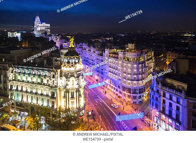 Madrid, Spain cityscape at Calle de Alcala and Gran Via