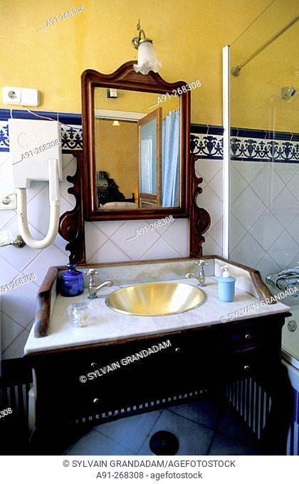 Bathroom in a suit of the Taberna del Alabardero hotel-restaurant. Sevilla, Spain