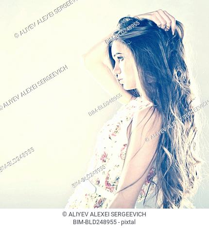 Profile of pensive Caucasian teenage girl