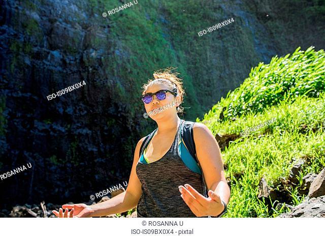 Hiker on Waipipi Trail, Maui, Hawaii