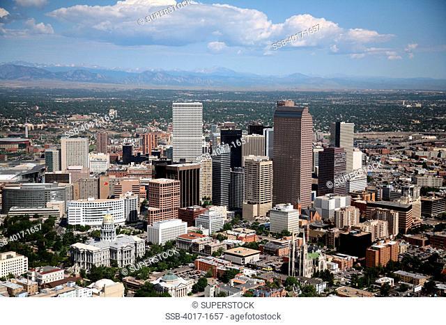 Aerial of the Denver Skyline