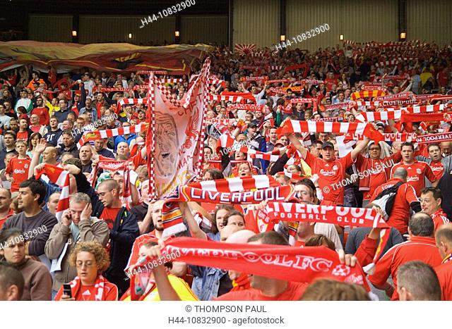 UK, England, Europe, Liverpool Football Club, Merseyside, crowd, Fans, people, wearing, red, white, Football, shirts