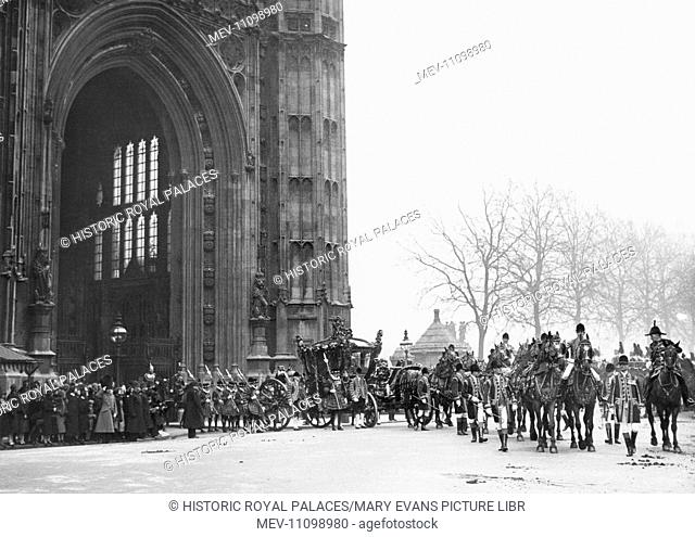The State Opening of Parliament. The royal coach leaving the House of Lords, with Yeoman Warders in procession, February 1928