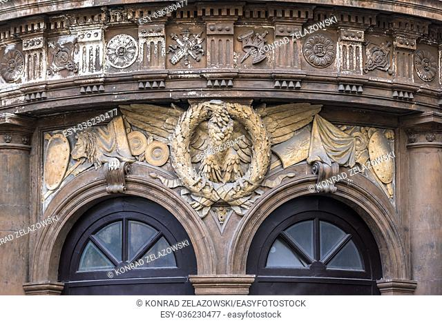 Details of front facade of Teatro Massimo Bellini opera house (named after Vincenzo Bellini) on Vincenzo Bellini square in Catania, Sicily, Italy