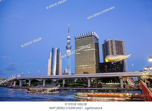 Japan, Honshu, Kanto, Tokyo, Asakusa, Office Buildings and Skytree Tower and Sumidagawa River