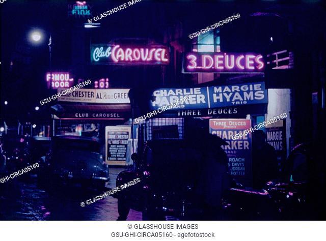 Street Scene at Night, West 52nd Street, New York City, New York, USA, William P. Gottlieb Collection, July 1948