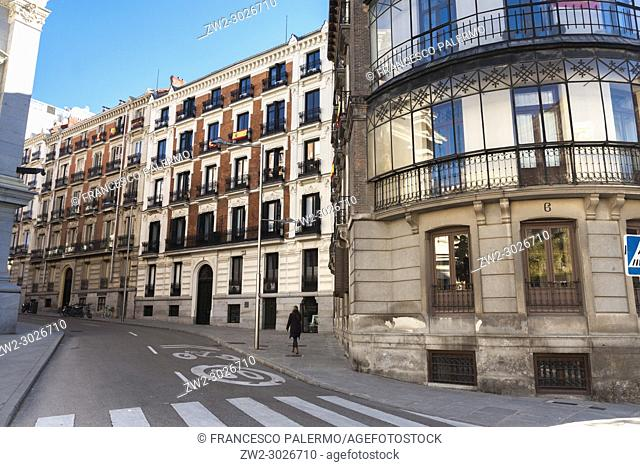 Sunlight and classic style blocks of apartments. Madrid. Spain