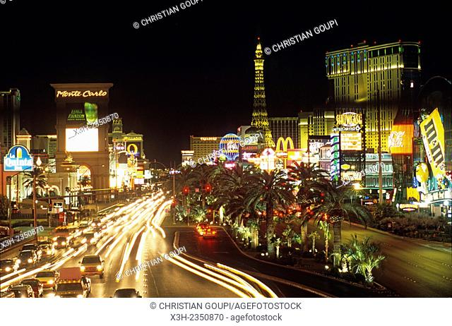 Las Vegas Strip by night, state of Nevada, United States, North America