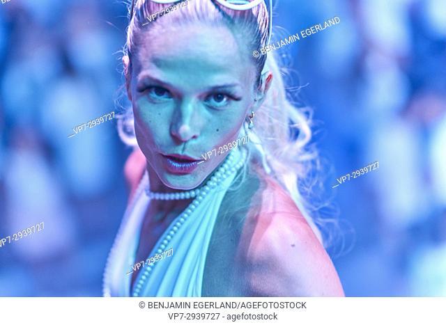 portrait of dancer at edm music festival. Estonian ethnicity. In holiday destination Hersonissos, Crete, Greece