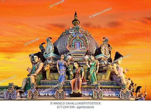 Statues in the Sri Mariamman Hindu Temple, Chinatown, Singapore