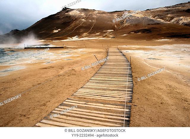 Boardwalk trail at Namafjall Hverir - Myvatn Region, North Central Iceland