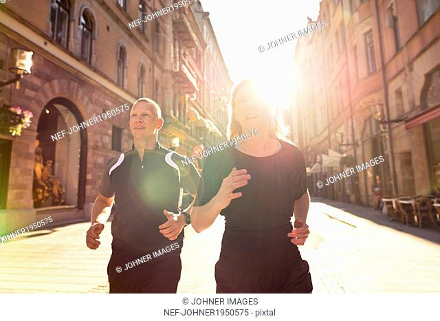 Couple jogging, Stockholm, Sweden