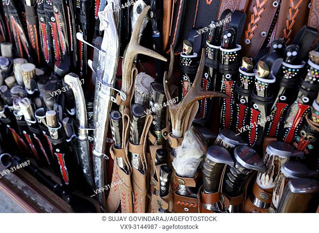 Close-up of traditional knives, daggers and swords used by Uzbeks of Central Asia