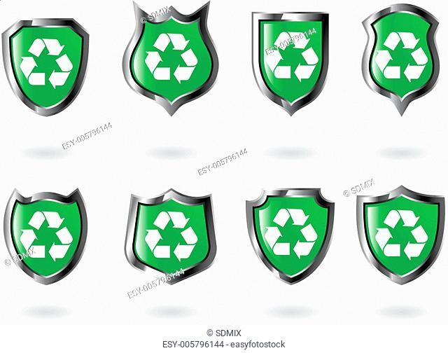 the set vector green shield