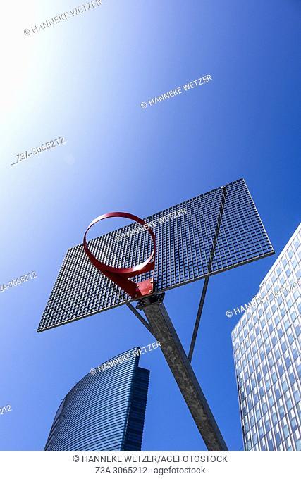 Outdoors basketball hoop with backboard in Brussels, Belgium, Europe
