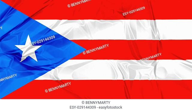 3D waving Puerto Rico flag background red, blue and white colors, Latin America Caribbean