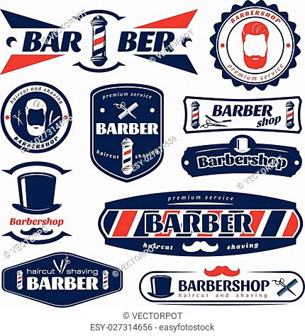 Barber blue red labels with razor comb scissors hat male face mustache pole isolated vector illustration
