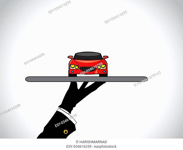 hand silhouette of a dealer agent offering the best red car - concept illustration of seller offering a beautiful red car on a tray to customer