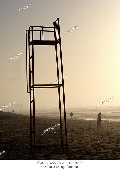 Life guard viewer, Sidi Ifni beach. Morocco .North Africa