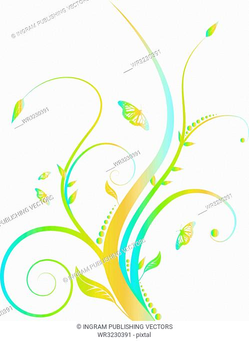 Abstract floral design with flowing line in subtle rainbow colors
