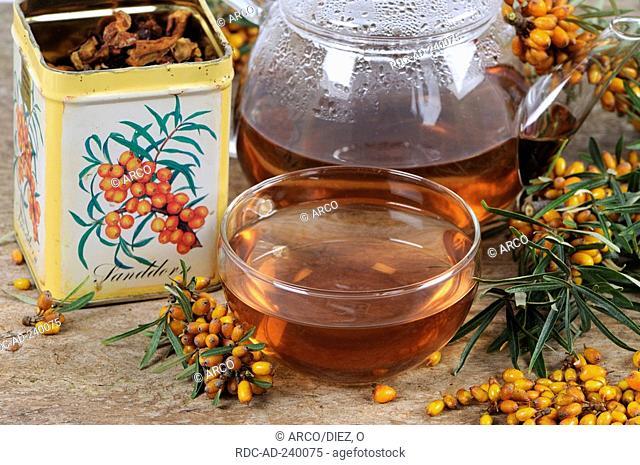 Cup and pot of Sea Buckthorn tea / Hippophae rhamnoides