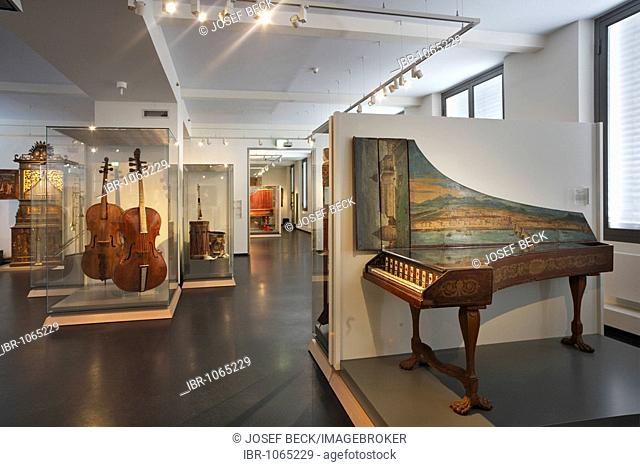Renaissance hall in the Museum of Musical Instruments in the University of Leipzig, exhibition of late Renaissance and early Baroque from the 16th and 17th...
