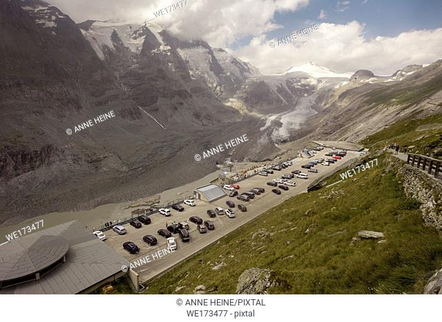 Touristic infrastructure at Mount Grossglockner, which is the highest mountain in Austria. Seen from lookout at Visitor Centre Kaiser-Franz-Josefs-Höhe
