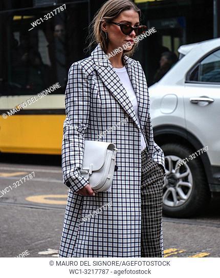 MILAN, Italy- February 22 2018: Women on the street during the Milan Fashion Week
