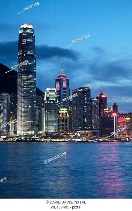 The evening skyline of Hong Kong Island and Victory Harbour viewed from Kowloom Tong, Hong Kong China