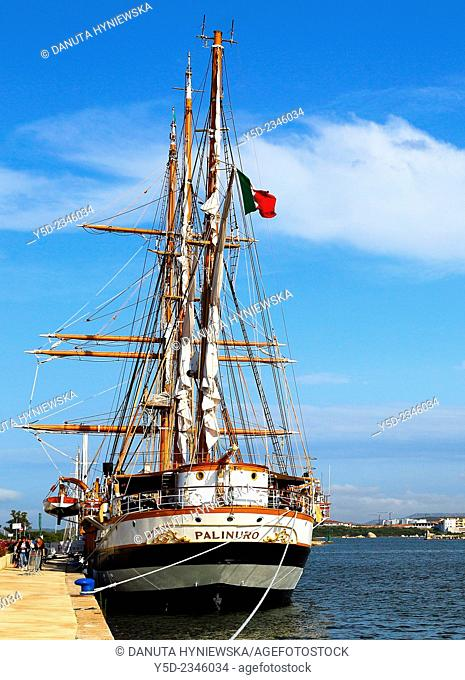 Palinuro - three-masted, iron-hulled barquentine, active as sails trainings vessel for the Italian Navy, moored in Olbia harbor, Sardinia, Italy